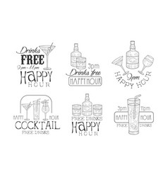 set of black and white logos for cafe or vector image