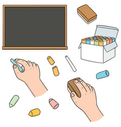Set of blackboard and chalk vector