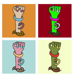 set of cartoon zombie hand clip art vector image