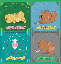 set of vintage greeting cards with cartoon animals vector image