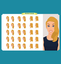 set of womans emotions design facial expression vector image