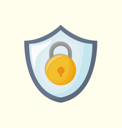 shield with padlock icon vector image