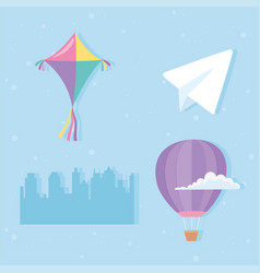 sky kite hot air balloon cloud paper plane and vector image