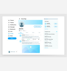 social page interface user profile ui mockup vector image