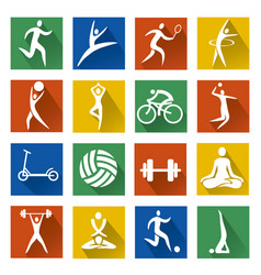 sport web icons with long shadow vector image