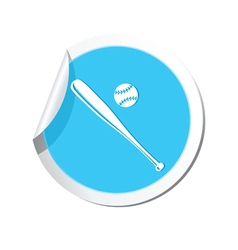 Sticker with baseball icon vector image