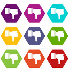thumb down gesture icon set color hexahedron vector image