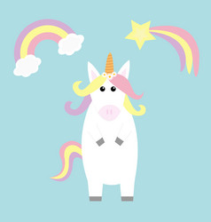 Unicorn holding rainbow cloud comet meteor vector