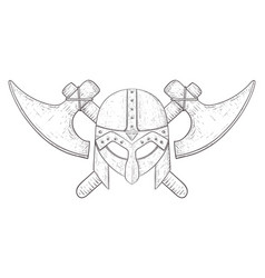 viking helmet and axes hand drawn sketch vector image