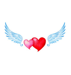 Watercolor of two hearts pink and red with angel vector