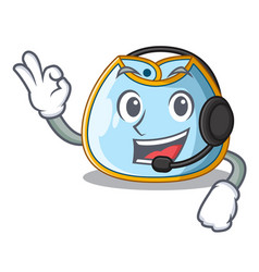 With headphone baby bib isolated on the mascot vector