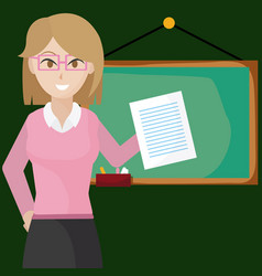 woman teacher with blackboard vector image