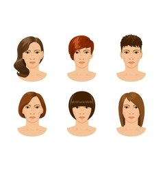 young female face with different hairstyles vector image