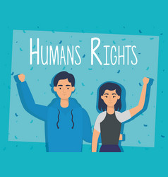 Young lovers couple with human rights label vector