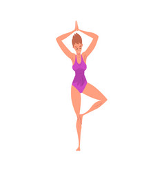 young woman practicing yoga in tree pose active vector image