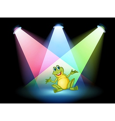 A frog on the stage with spotlights vector image vector image