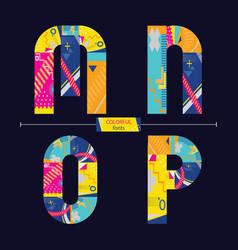 alphabet colorful geometric style in a set mnop vector image