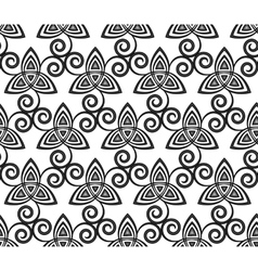 Black and white celtic triskels seamless vector image