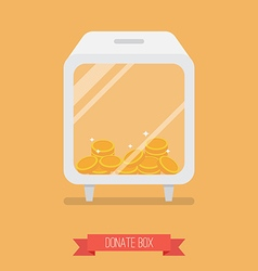 Donate box flat icon vector image vector image