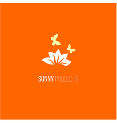 logo with flower and butterfly vector image vector image