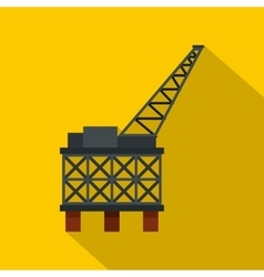 Oil rig platform icon flat style vector image