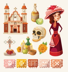Set of items for day of the dead vector image vector image