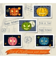 Vintage halloween post stamps set vector image