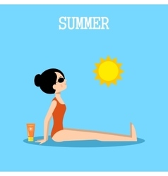 Woman sunbathes on the beach vector image vector image
