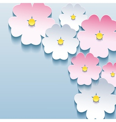 Abstract floral stylish background with 3d flowers vector image vector image