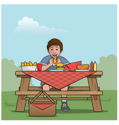 boy at a picnic table vector image vector image
