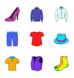 clothing icons set cartoon style vector image