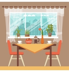 Dining table with chairs and coffee cups vector image