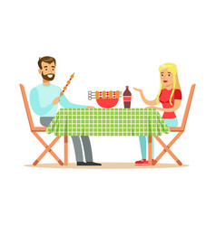 happy couple enjoying barbeque cheerful man and vector image
