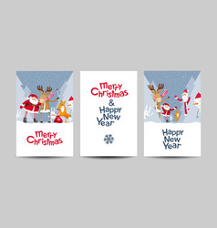 merry christmas lettering design template set vector image vector image