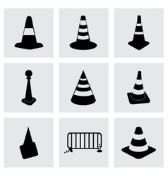 black traffic cone icons set vector image