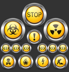 Danger and caution street sign set of round metal vector