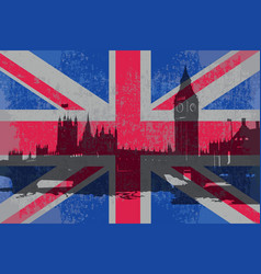 flag of england and the parliament building vector image vector image
