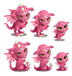 pink cute dragon of different ages vector image vector image