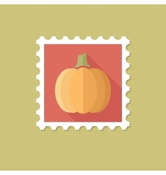 Pumpkin flat stamp with long shadow vector image vector image
