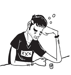 simple black and white sad man drinking vector image