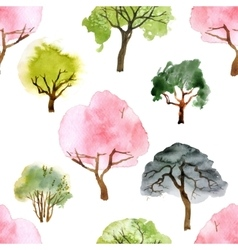 Watercolor trees seamless pattern vector image vector image