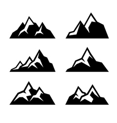 Mountain Icons Set on White Background vector image vector image