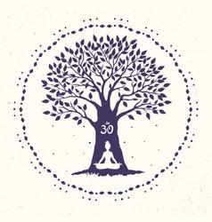 tree yoga om vector image