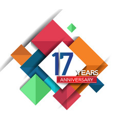 17 years anniversary design colorful square style vector