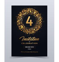 4 years anniversary invitation card template vector