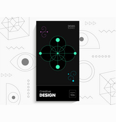Abstract geometric poster geometric shapes lime vector