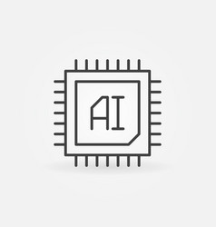 Ai chip icon in thin line style vector