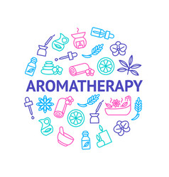 aromatherapy and spa signs thin line round design vector image