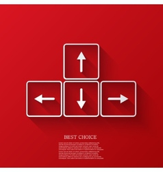 arrows buttons keyboard on red background vector image