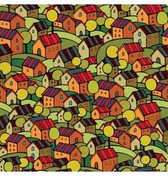 Autumn houses seamless pattern vector